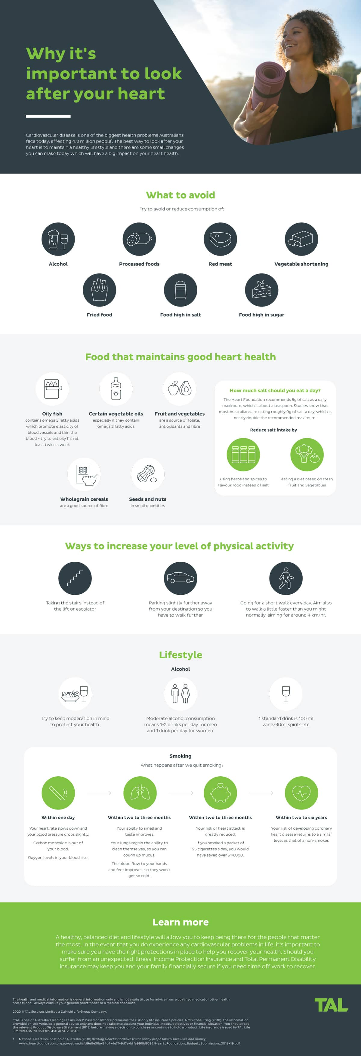 Why it's important to look after your heart. Some of the best way to look after your heart health is to maintain a healthy lifestyle, which will have a big impact on your heart.